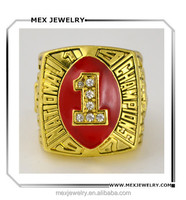 High quality custom made gold national school No.1 champion ring for college gift