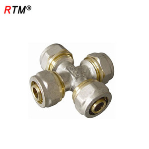 B17 high quality 4 way brass pipe fitting threaded brass compression fitting