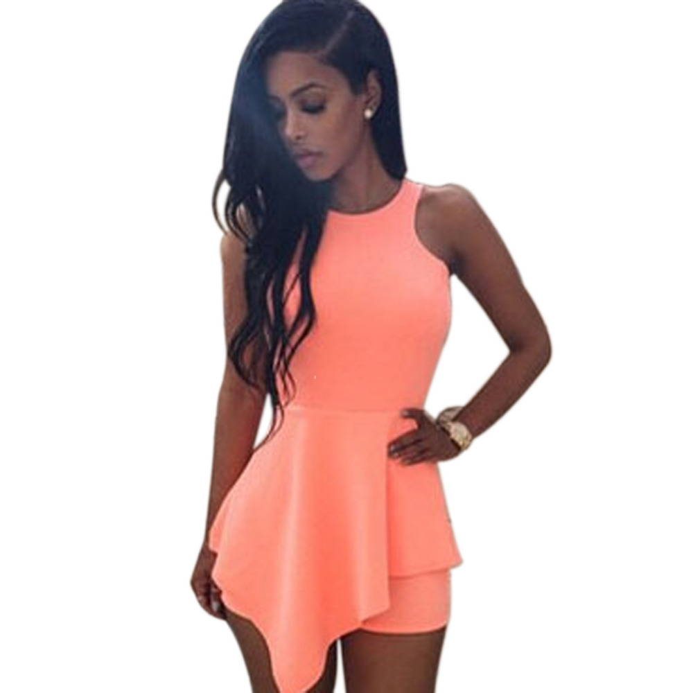 ab0e5b84cf7d Get Quotations · Rompers Womens Jumpsuit Back Cut Out Club One Piece  Bodycon Jumpsuit Shorts Sleeveless Irregular Playsuit Combinaison