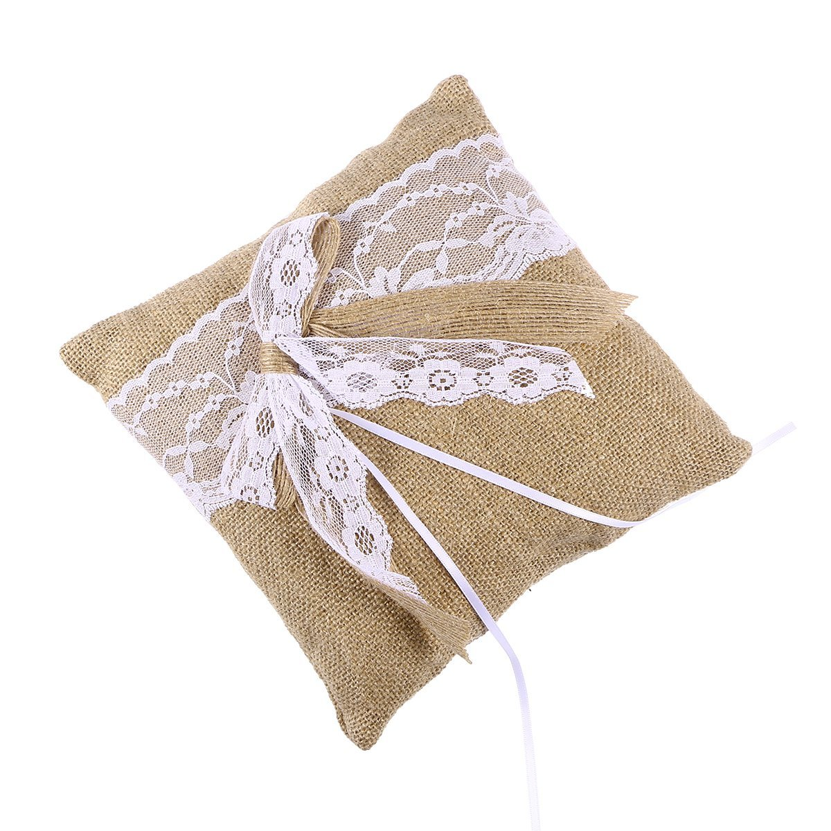 WINOMO Burlap Wedding Ring Pillow Bearer Cushion 20 x 20cm Brown