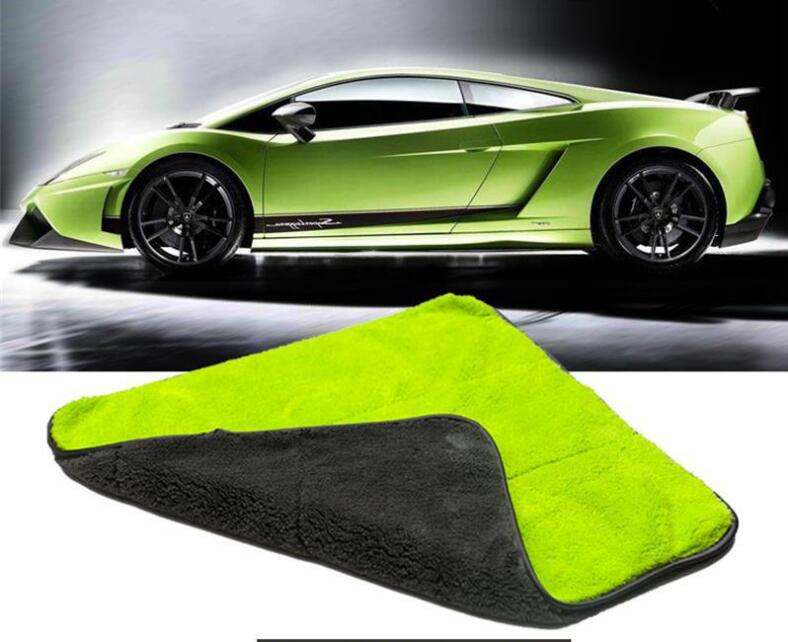 China suppliers Lamborghini green 600gsm 100%microfiber car cleaning towel microfibre with customized color/size/packing