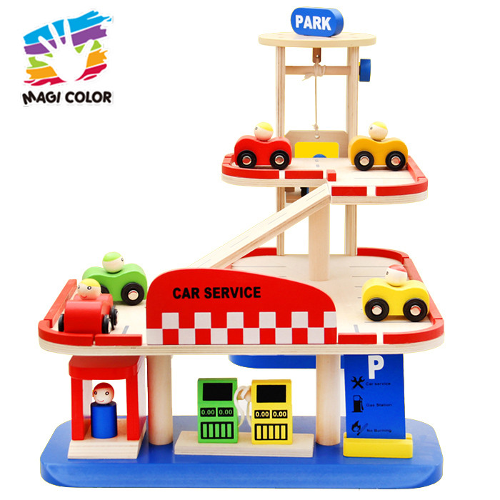 Wholesale funny role play toy 3 layers wooden parking garage play set for baby W04B054