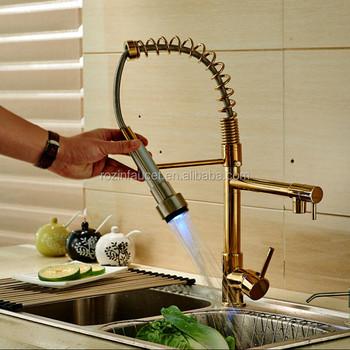 Color Changing Led Light Kitchen Faucet Double Spout Br Golden Mixer Tap Single Handle