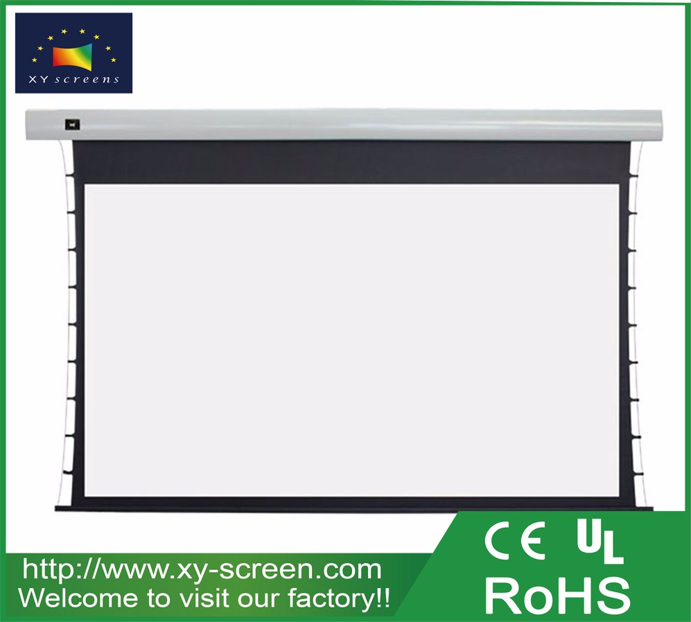 Xyscreens 16 9 format 150 inch tab tensioned electric for Tab tensioned motorized projection screen