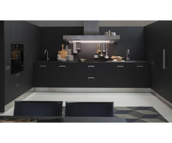 2018 Simple Style Matt Black Lacquer Kitchen Cabinets