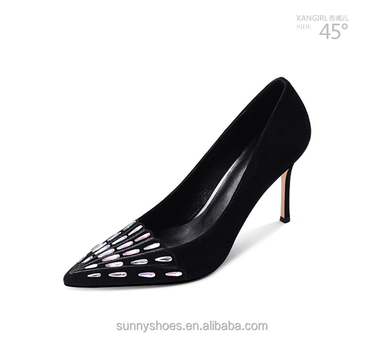 shoes rhinestone Sexy women pump black decorated fqZxf1vO