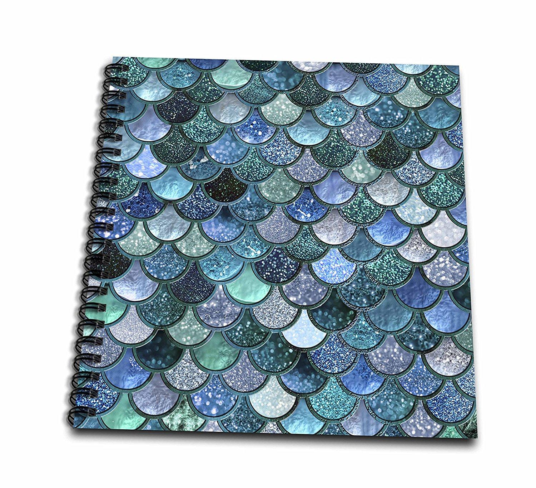 3dRose Uta Naumann Faux Glitter Pattern - Multicolor Girly Trend Blue Luxury Elegant Mermaid Scales Glitter - Drawing Book 8 x 8 inch (db_272861_1)