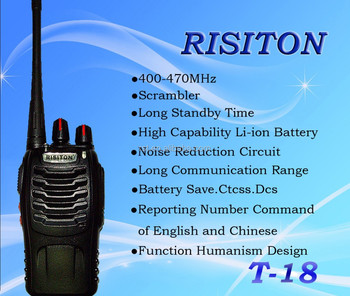 Risiton T18 Profesional Fm Transceiver Walkie Talkie Long Range Two Way  Radio Handheld Radio Ham Radio - Buy Risiton T18 Walkie Talkie,Handheld Two