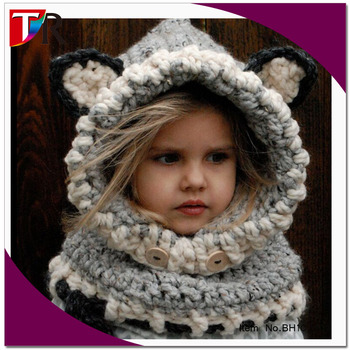 8e9eca788c8 hot sale funny baby windproof wolf scarf hat set children crochet animal hat