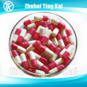 Empty gelatin capsules red and white