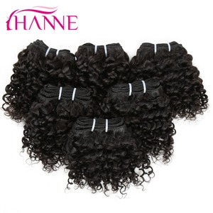 7A Grade Short Human Hair Weaves 50g Natural Black Peruvian Water Wave Hair Extensions Cheap Wholesale 6 Packs Afro curly Hair