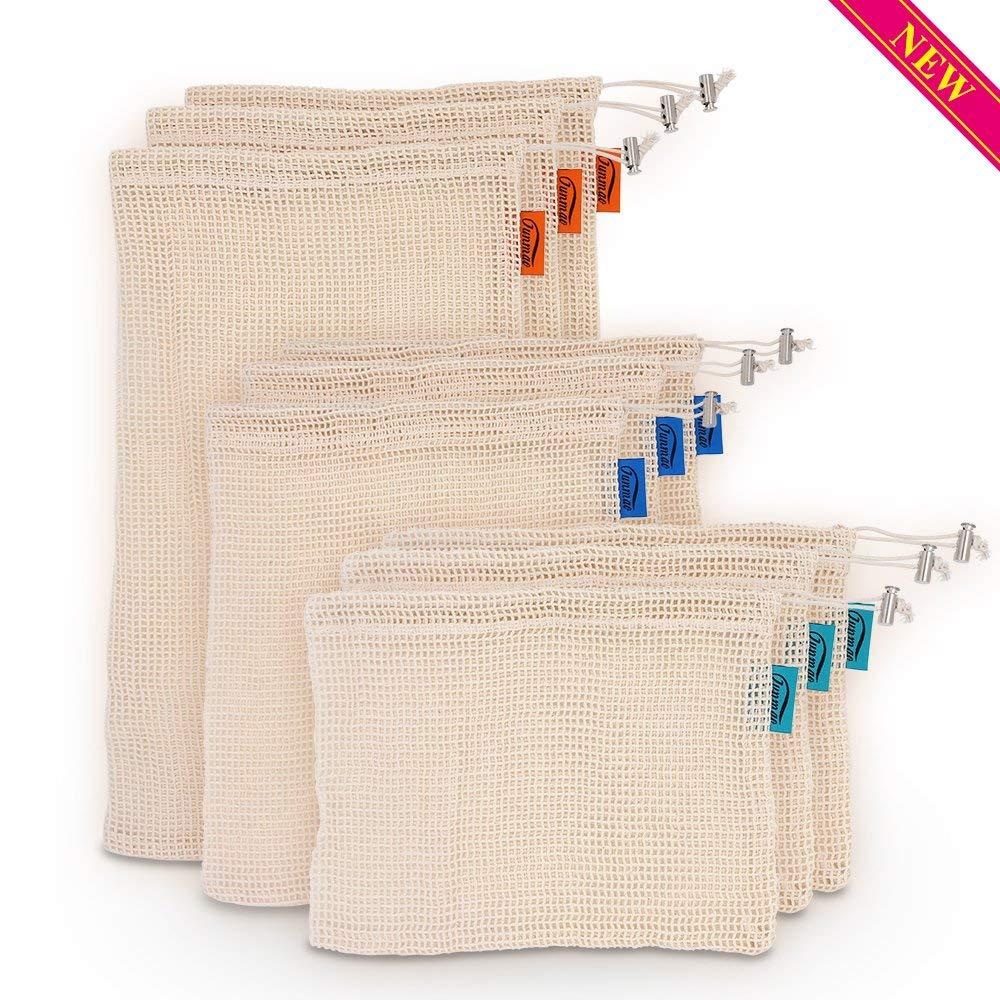 JUNMAO 9PCS/SET 3 SIZES REUSABLE GROCERY BAGS, PRODUCE BAGS for Grocery Shopping & Storage&Organization, Reusable Mesh Bags Eco-Friendly Natural Organic Muslin Cotton Drawstring & Premium Mesh Bag Set