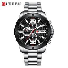 Спортивные часы Мужские Элитный бренд CURREN Модные кварцевые часы с повседневные из нержавеющей стали деловые наручные часы Мужские часы(Китай)