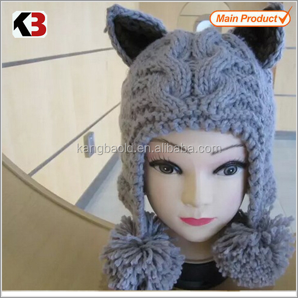 2017 Hot sale Women lady chunky Knit Hat With Ears/Wholesale Cat Ear Beanie hat with ears