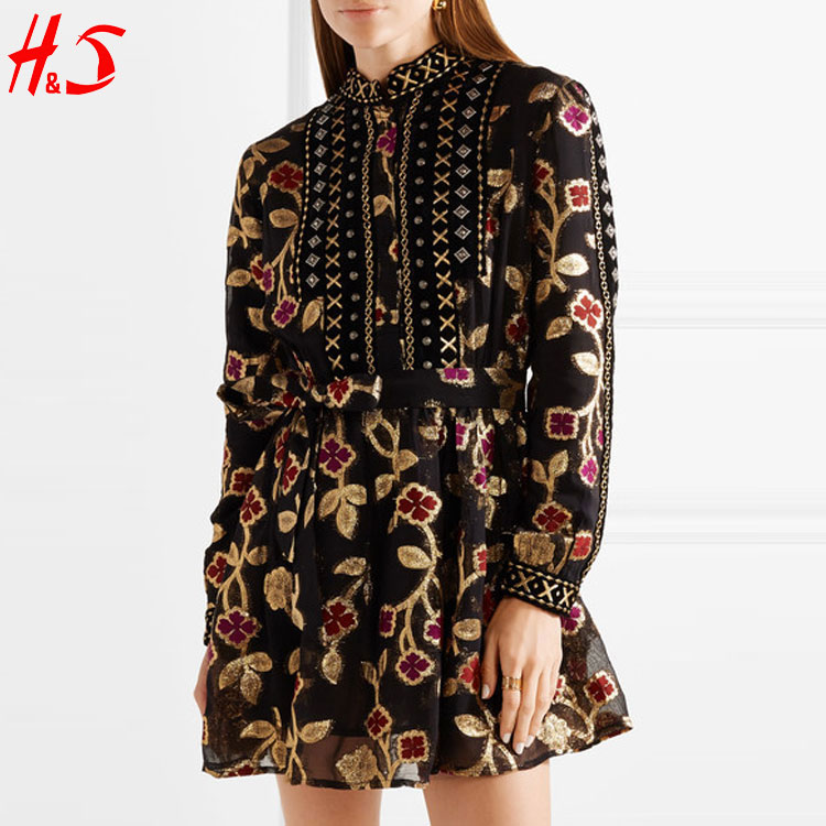 Trending Hot Products Embellished Multicolored Embroidered Opaque Fully Lined Mini Chiffon Girls Dress with An Detachable Belt