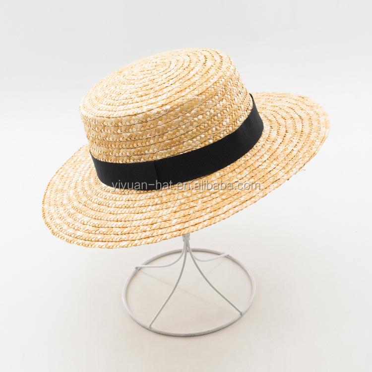 2020 new style summer fashion wheat straw hat straw boater hat with black band