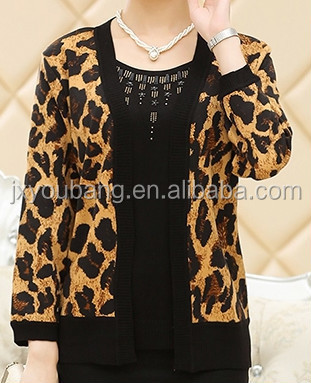 Women middle-aged Leopard printing round neck Hot drilling Layered Knitted sweater cardigan