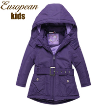 Girls Coat New 2015 Fashion Wind-Proof Outerwear & Coats Girls Jacket Brand Solid Kids Jacket Hooded Girls Winter Jacket 2-8Y