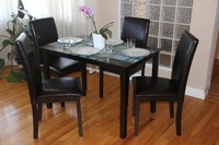 Dining Kitchen 5 Pc SET Rectangular Table and 4 Fallabella Chairs in Black Espresso Finish