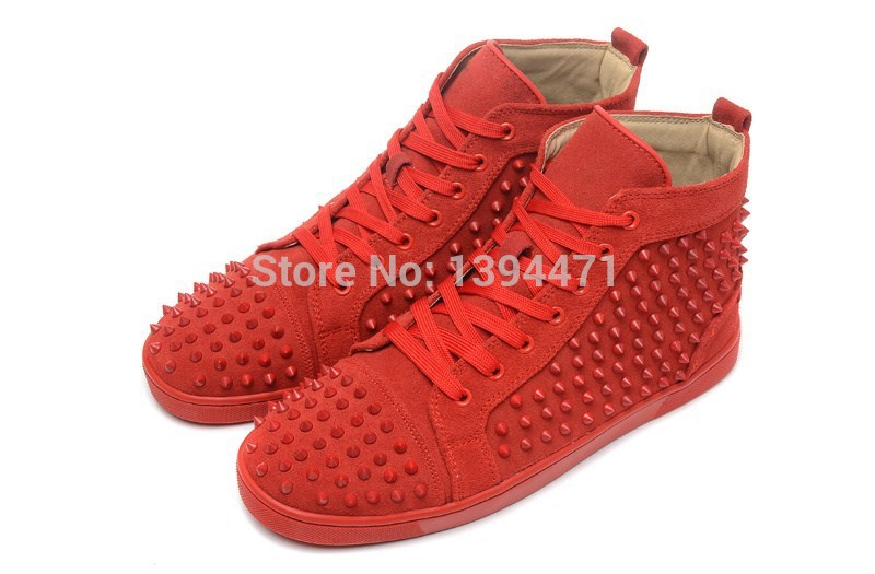 c7a31f3aec41 Get Quotations · Spiked red bottom shoes for men genuine leather Suede  flats Red bottom sneakers shoes for men