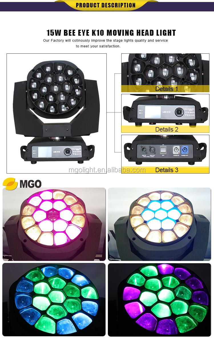 Best-selling  big bee eye k10 19*15W zoom rgbw moving head led beam lights