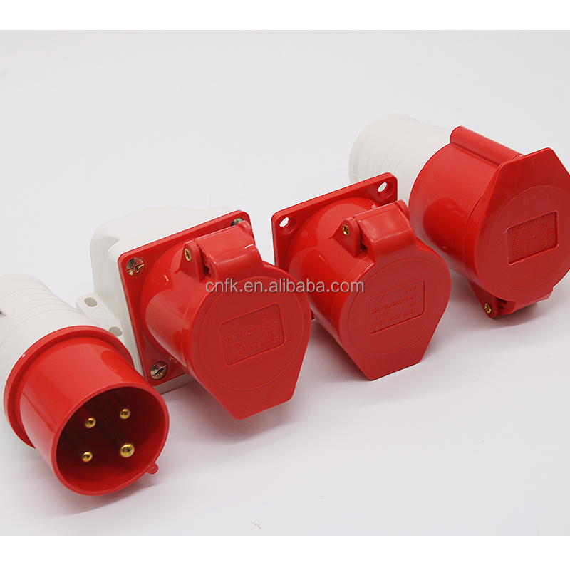 4 pins 16A Nylon66 Material IP44 Electrical Industrial Plug Socket