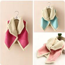 Winter children Girl Sleeveless Waistcoat Lapel Wool Vest Tank Jacket Outerwear 2-7 Y