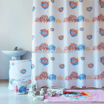 Kids Bathroom Set In Match Design Rainbow Fish Bath Shower Curtain Bathmat