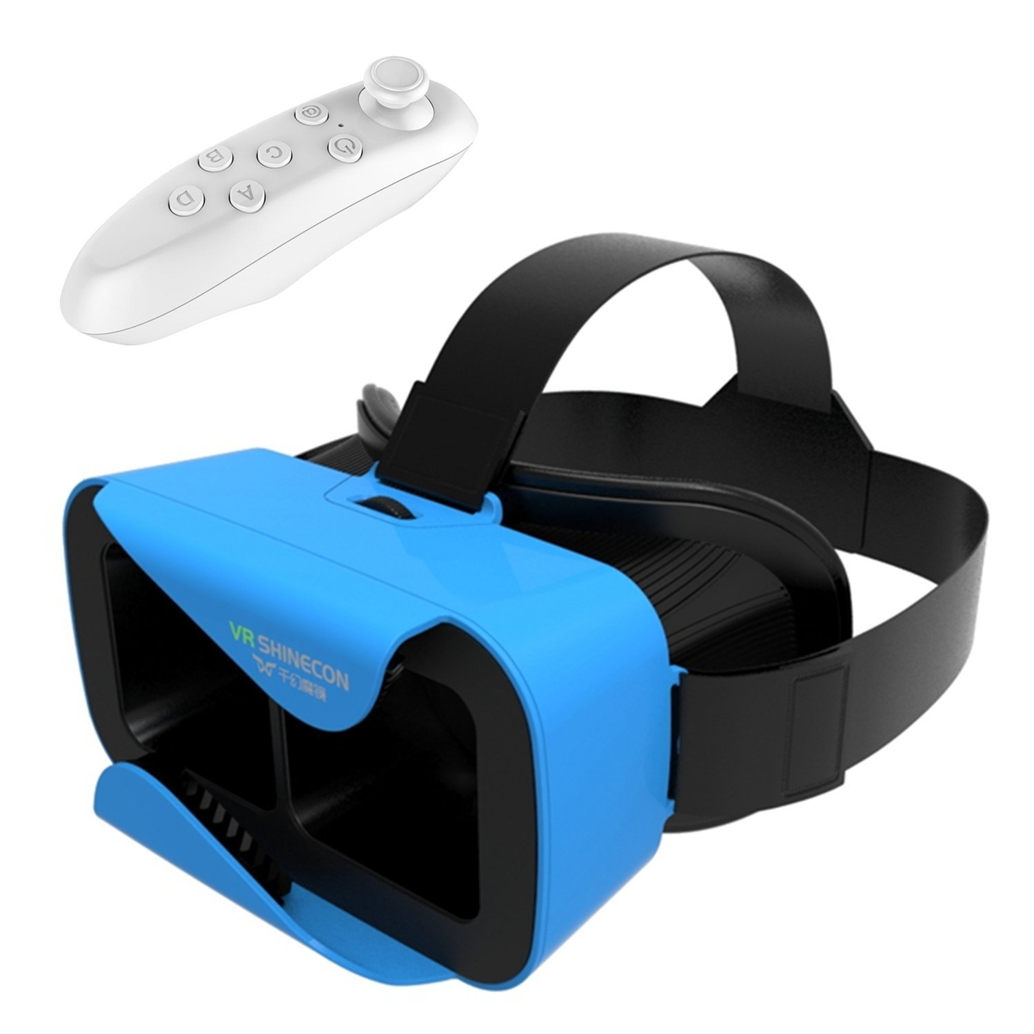 Tsanglight VR Headset, Virtual Reality 3D Glasses VR Helmet Game Video Headset[Newest]+Wireless Remote Controller for IOS iPhone 7/6/6S Plus, Android Samsung S7 Edge/S7[4.7-6.0inch Smart Phone] -Blue