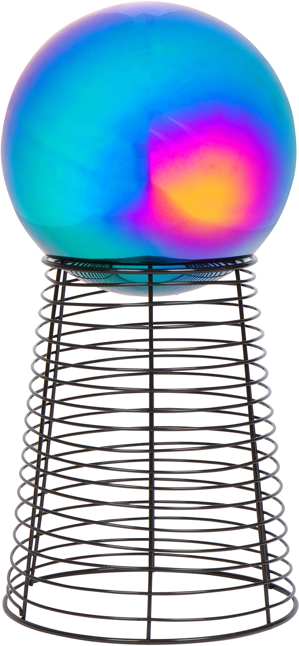 "12"" Metal Gazing Ball Stand & 8"" Gazing Ball (Rainbow) by Trademark Innovations"
