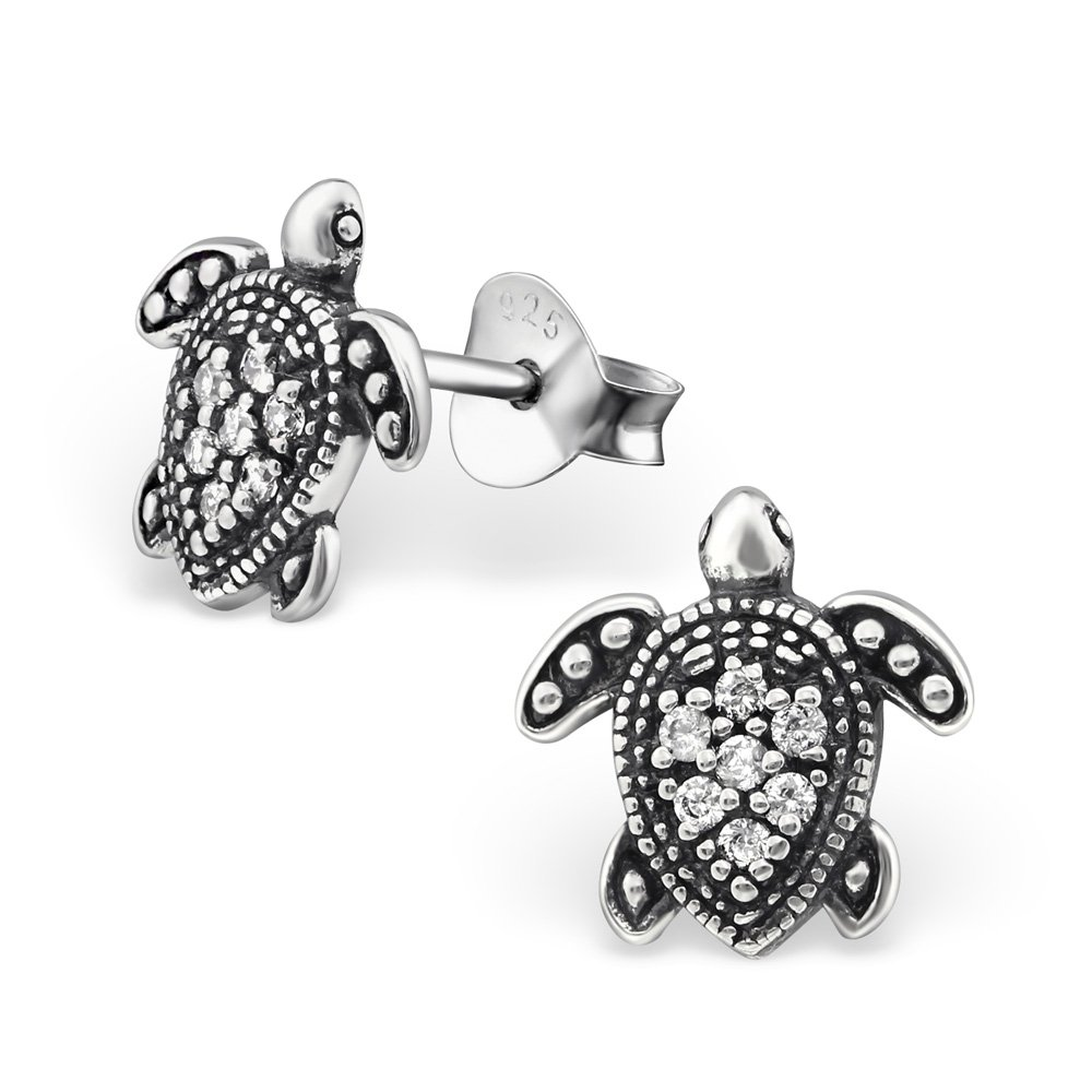 9f1f0331f Get Quotations · 925 Sterling Silver Oxidized Crystal CZ Turtle Stud  Earrings for Women or Girls 30818 (Nickel