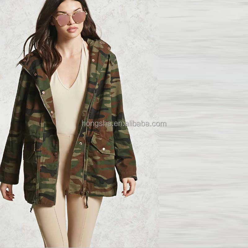 2017 Hooded Military Jacket Autumn Camo Print Utility Jacket Latest Women Army Jacket HSb9080