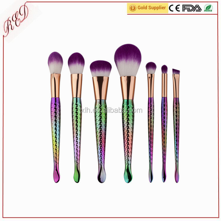 2017 new arrival amazon best selling 10pcs mermaid makeup cosmetics brush fish tail brush