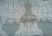100% embroidered silk fabric with classic paisley/white fabric for dyeing