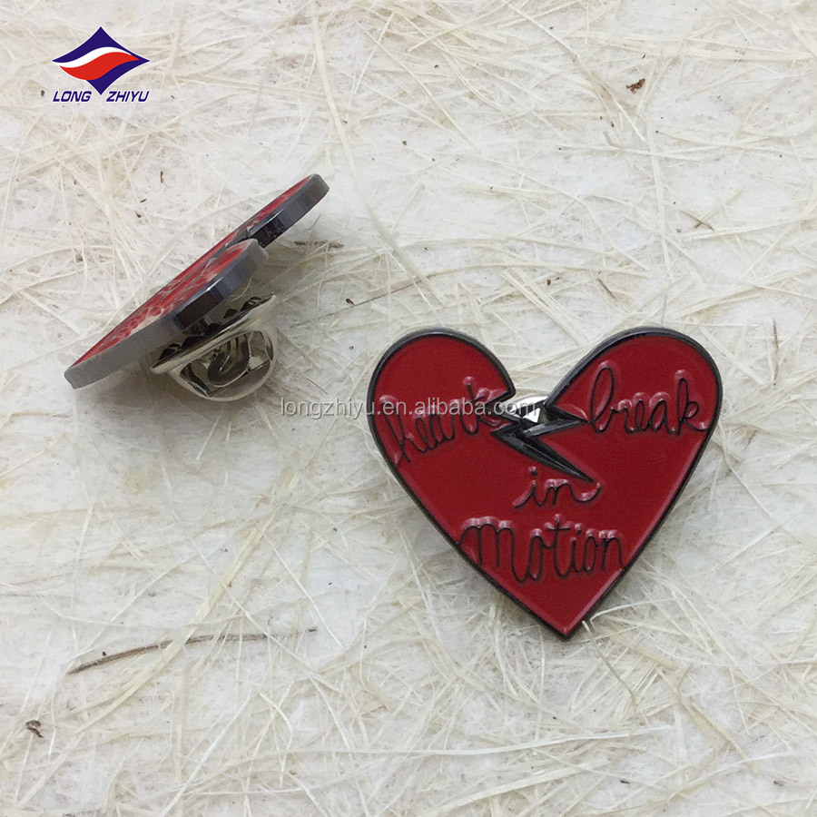 Customized Heart Shape Metal Badges,Epoxy Domed Badge Emblem,Lapel Pins With Safety Pin