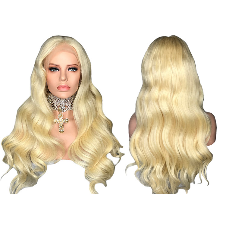 Fashion Pre Plucked Honey Blonde #613 Long Full Lace Human Hair Wigs