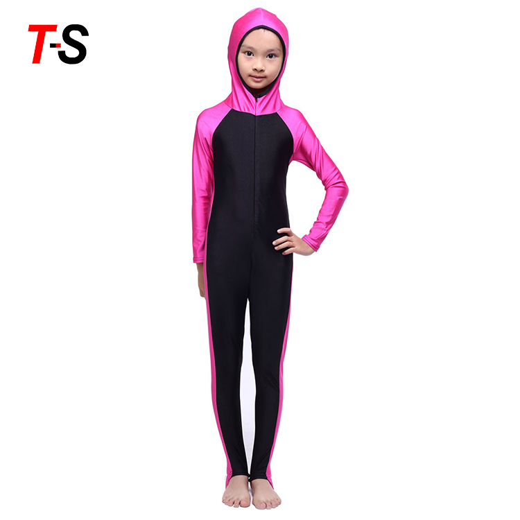 Custom Swimming Suit  Pretty Abaya Muslim Child Girls Swimwear