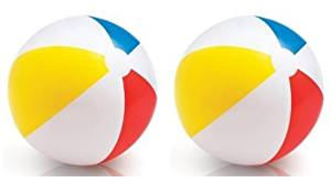 INTEX Classic Inflatable Glossy Panel Colorful Beach Ball - (Set of 2) | 59020EP