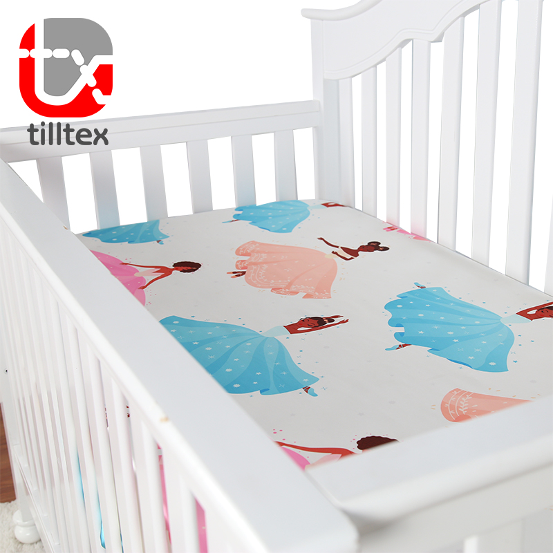 Cartoon dancing girl digital printed baby bedding satin baby crib satin sheets
