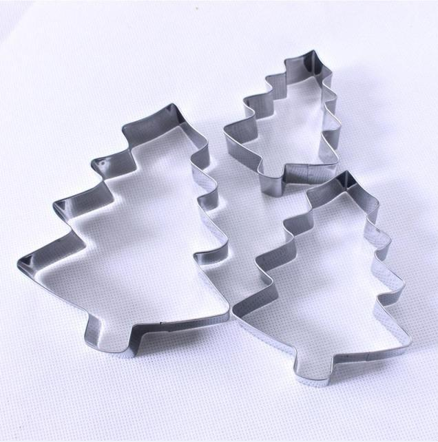 Christmas tree baking tool a three-piece set of stainless steel cake cutter Christmas cookie molds