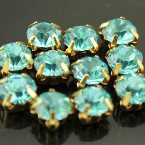 Blue Zircon ss16 crystal rhinestone sew on round chaton montee beads garment jewels