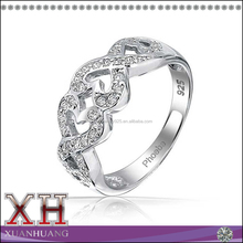 Silver Pave CZ Kissing Infinity Heart Band Ring