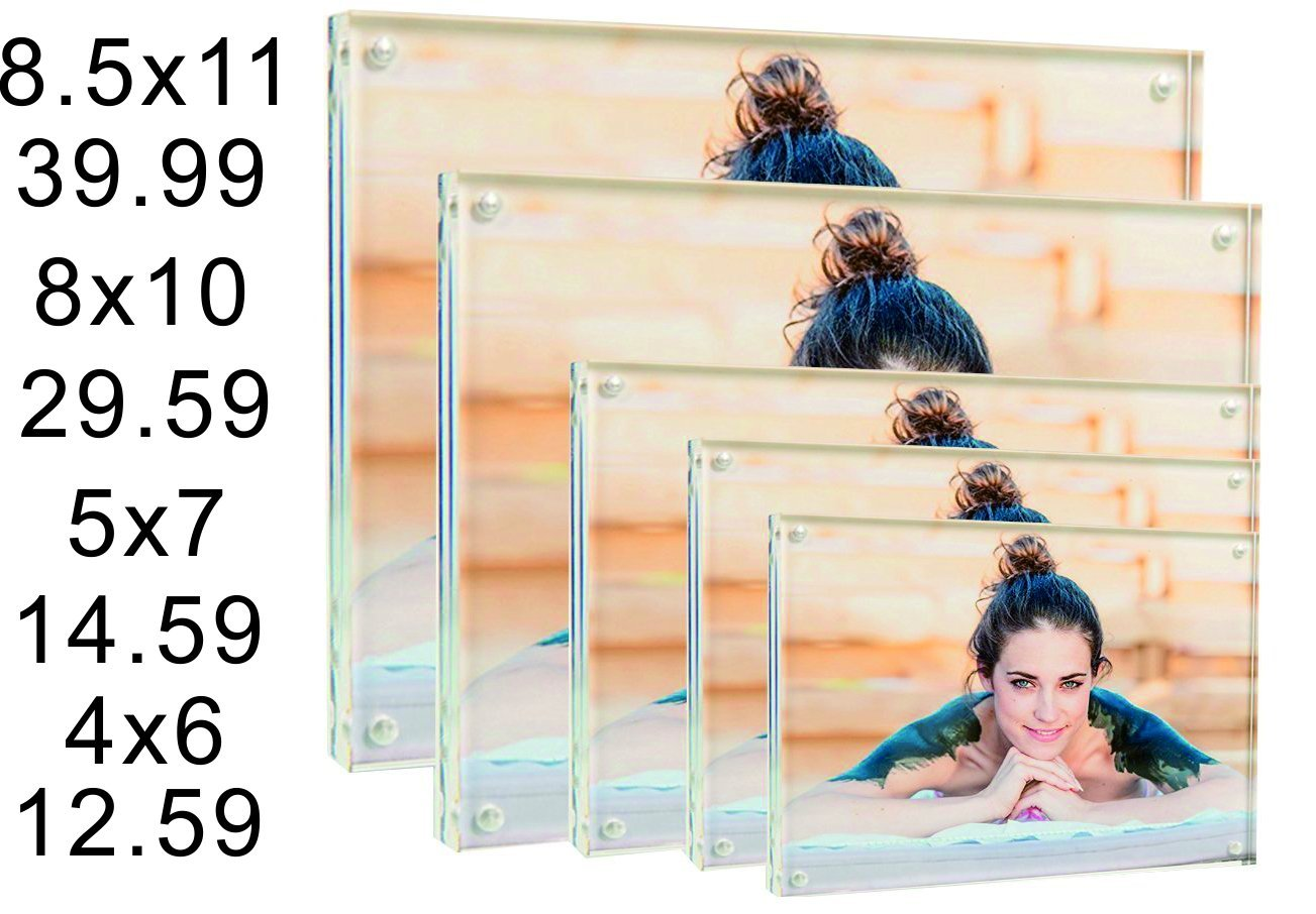 Cq acrylic 8x10 Acrylic Frame, Magnetic Picture Frames, Clear, 10 + 10MM Thickness Stand in Desk/Table,Pack of 1