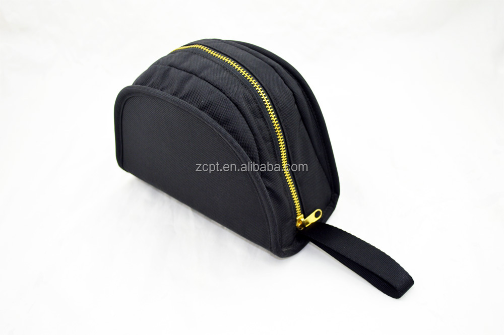 Black Nylon Zipper Case Accessories Bag with Handstrip for Headphone/Electronics Accessories