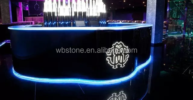 Acrylic Stone Night Club Round Led Bar Counter Top