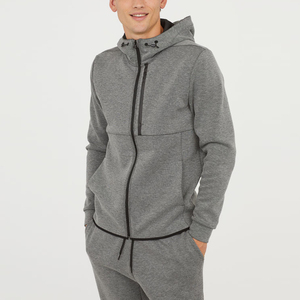wholesale high quality customised zip opening men ndrawstring hoodie