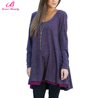 Popular Plus Size Purple Double Layer Loose T-Shirt Blouse Top 6 Colors Fit Tunic Dress