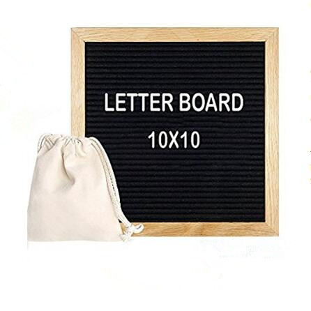Custom Size Solid Wood Frame Changeable Black  Felt Letter Board With Letters