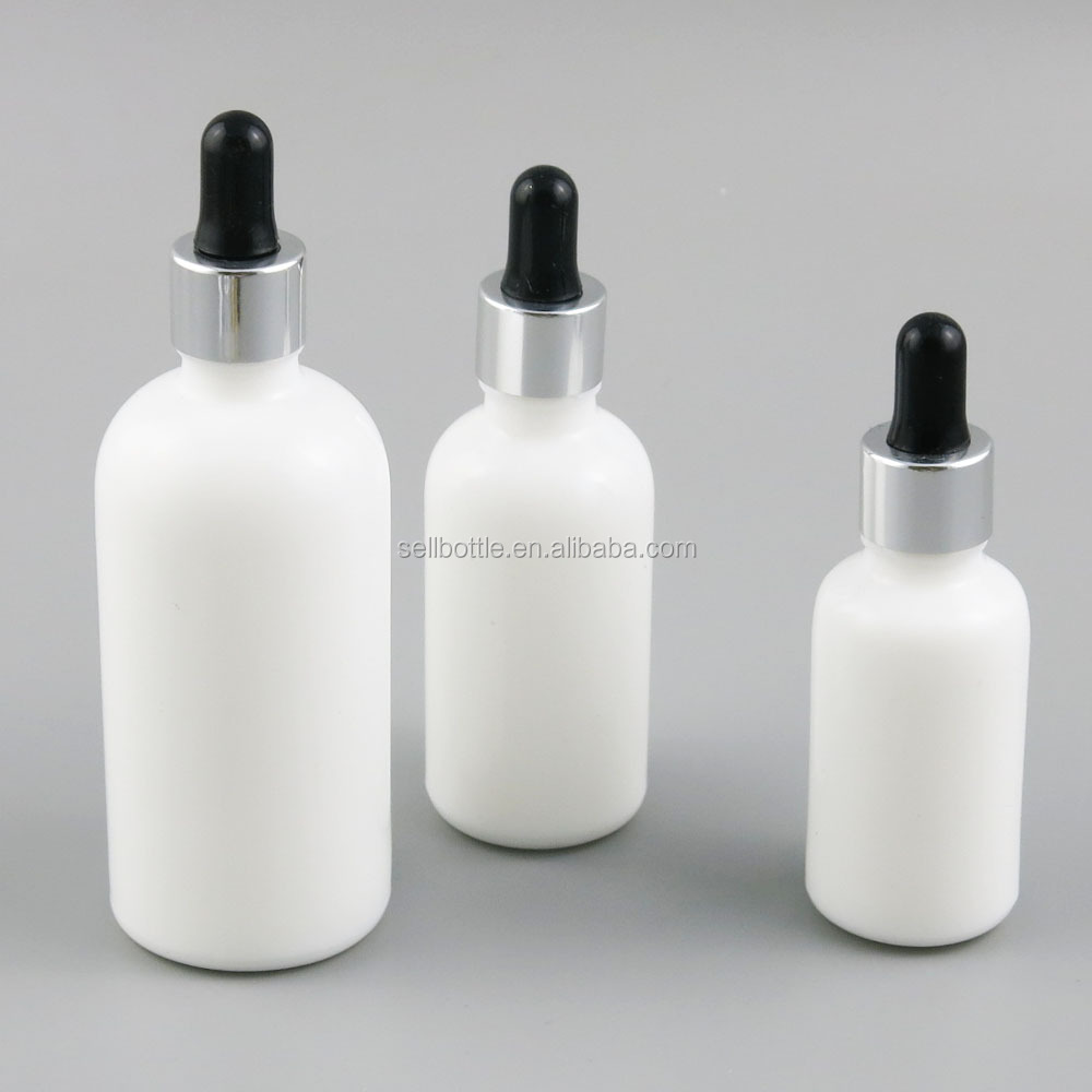 Beauty 10ml 30ml 50ml 100ml white pipette dropper glass bottle
