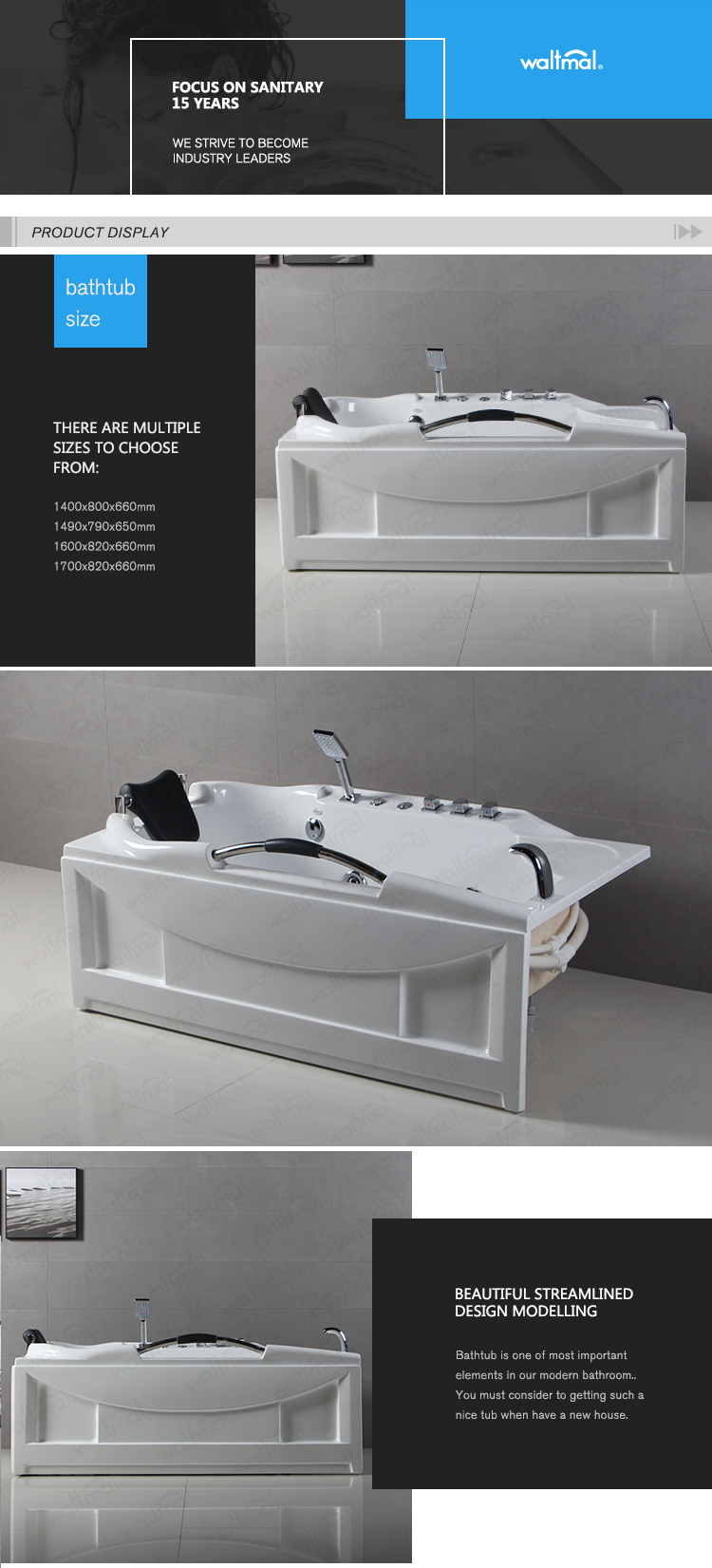 Corner Single Strong Massage Jets Bathtub Rectangular